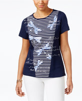 Karen Scott Petite Embellished Dragonfly Top, Only at Macy's