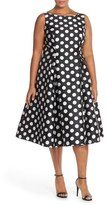Adrianna Papell Plus Size Women's Sleeveless Mikado Fit & Flare Polka Dot Midi Dress