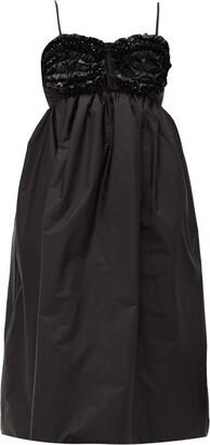 Simone Rocha 4 Moncler Ruffled Bead-embellished Technical-shell Dress - Womens - Black
