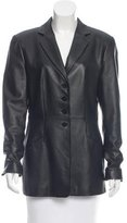 Armani Collezioni Leather Fitted Jacket