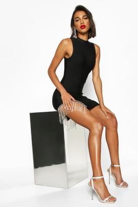 boohoo Bandage Diamante Trim Bodycon Mini Dress
