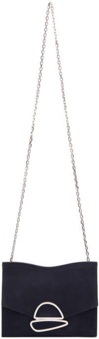 Proenza Schouler Navy Small Curl Chain Clutch