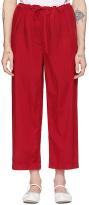 Comme des Garcons Red Tropical Cropped Trousers