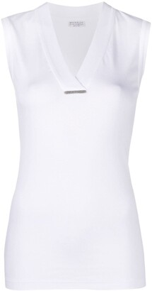 Brunello Cucinelli V-Neck Sleeveless Top