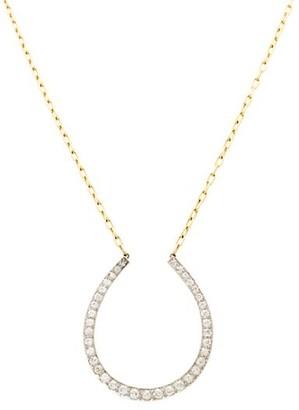 Stephanie Windsor Edwardian 18K Yellow Gold, Platinum & Diamond Horseshoe Pendant Necklace