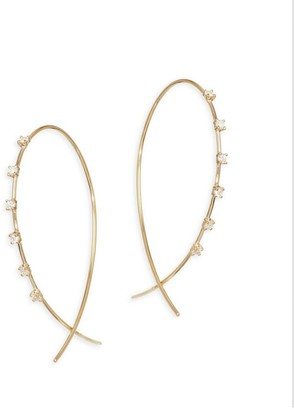 Lana Solo 14K Yellow Gold & Diamond Wire Hoop Earrings