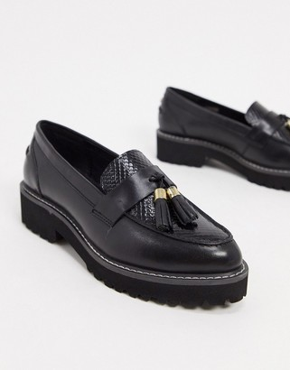 Dune golding leather chunky loafers in black