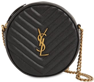 Saint Laurent Vinyle Round Quilted Leather Camera Bag
