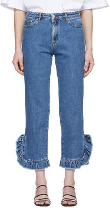 MSGM Blue Ruffled Jeans