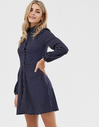 Qed London QED London button through spot print shirt dress in navy and white