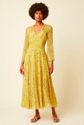Great Plains Lemon Florentina Chiffon V-neck Dress - Medium - UK 12