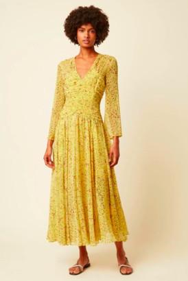 Great Plains Lemon Florentina Chiffon V-neck Dress - XS- UK 8