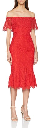 Little Mistress Women's Red Bardot Lace Bodycon Dress Party 6 (Size: 06)