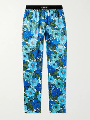Tom Ford Velvet-Trimmed Printed Stretch Silk-Satin Pyjama Trousers