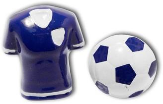 Sports Cufflinks 3D Blue Football Shirt and Ball Cufflinks