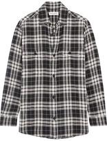 Saint Laurent Plaid Brushed Stretch-cotton Shirt - Black