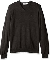 Calvin Klein Men's Merino Menswear Moon and Tipped V-Neck 12gg Sweater, Black Jack Heather, L