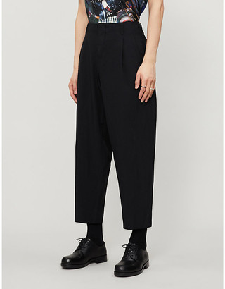 Comme des Garcons Pleated relaxed-fit tapered twill trousers