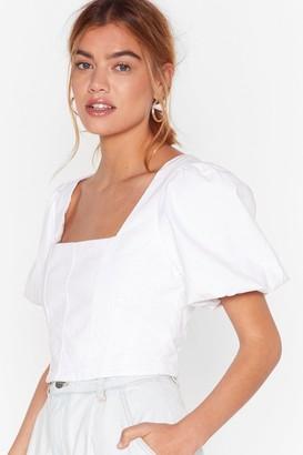 Nasty Gal Womens Square Neckline Denim Crop Top with Puff Sleeves - Ecru