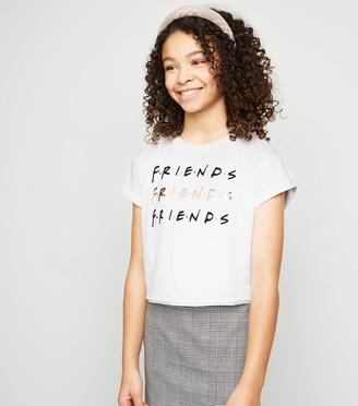 New Look Girls Metallic Friends Print Logo T-Shirt