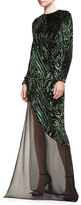 Prabal Gurung Burnout Velvet Long-Sleeve Gown, Black/Forest
