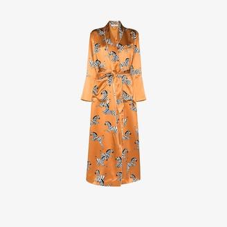 Olivia von Halle Capability zelda zebra print silk robe