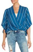 Free People Draped Striped Kimono Top