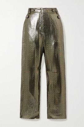 Derek Lam 10 Crosby Persis Silk And Lurex-blend Straight-leg Pants