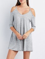 Charlotte Russe Marled Cold Shoulder Shift Dress