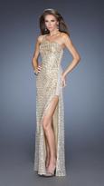 La Femme 19125 Sequined One Shoulder Dress
