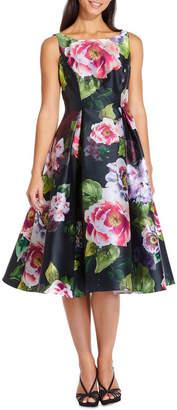 Adrianna Papell Print Mikado Dress