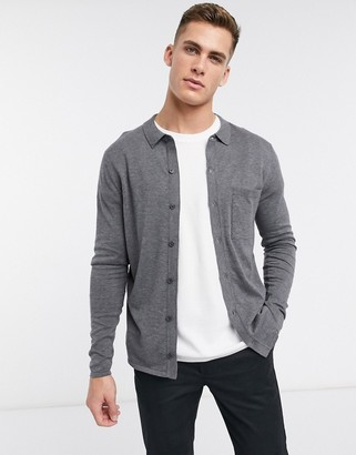 Selected organic cotton long sleeve knitted button through polo in grey