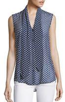L'Agence Natalia Printed Tie-Neck Blouse