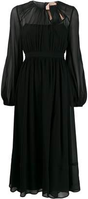 No.21 Tulle Pleated Long-Sleeved Dress