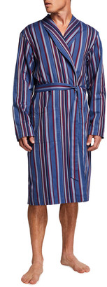 Hanro Men's Striped Woven Cotton-Blend Bathrobe