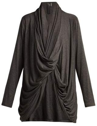 Norma Kamali Draped Twist Front Jersey Cardigan - Womens - Dark Grey