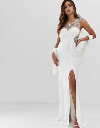 Jovani maxi dress with thigh split and embellished detail-White