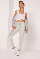 Missguided Velour Joggers Silver