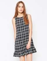 Daisy Street Grid Print Dress With Frill Hem