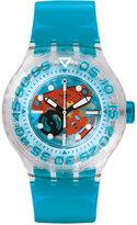 Swatch Unisex Swiss O-Tini Blue Plastic Strap Watch 42mm SUUK103