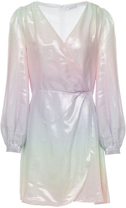 Olivia Rubin Meg Wrap-effect Metallic Degrade Woven Mini Dress