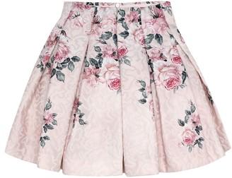 MonnaLisa Floral brocade pleated skirt