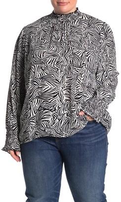 Sanctuary Carrie Zebra Print Smocked Blouse (Plus Size)