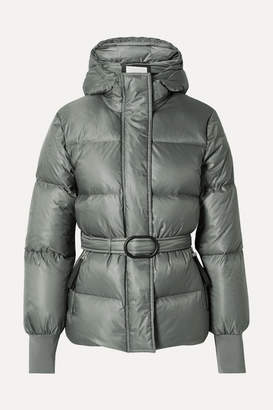 Kenzo Belted Quilted Shell Down Jacket - Gray green