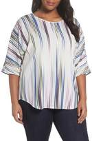 Vince Camuto Elbow Sleeve Colorful Peaks Blouse