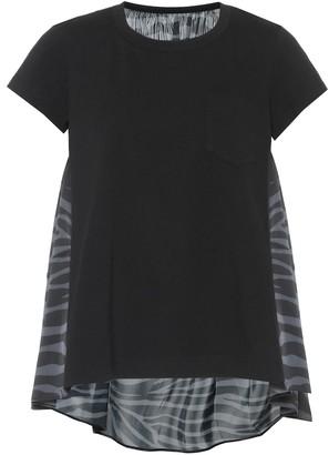 Sacai Zebra-print cotton and satin top