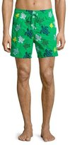 Vilebrequin Mistral Turtle-Print Swim Trunks, Green