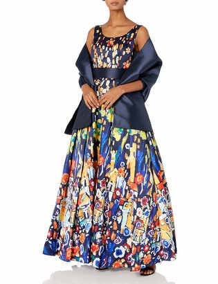 Mac Duggal Womens Bright Multi Print Ballgown