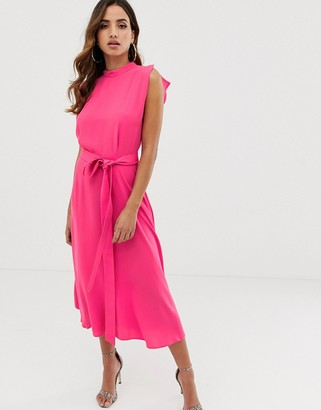 ASOS DESIGN split cap sleeve high neck midi dress with skater skirt in hot pink