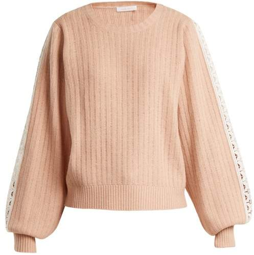 See by Chloe Balloon Sleeved Wool Blend Sweater - Womens - Nude